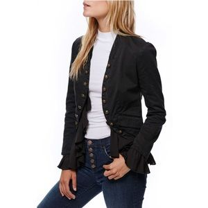 Free People Romantic Ruffle black military jacket